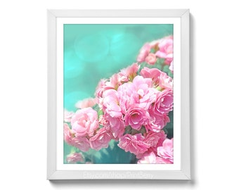 Flower photography Printable art Dreamy photography Flower photo Printable photography rose photo pink mint 8x10 print Flower print