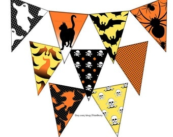 halloween party decorations printable halloween decor diy halloween bunting halloween garland halloween decoration - Halloween Decorations Printable