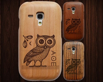 SALE: Wood Samsung Galaxy S3 Mini case. Athenian owl engraving. Choice of three wood types.