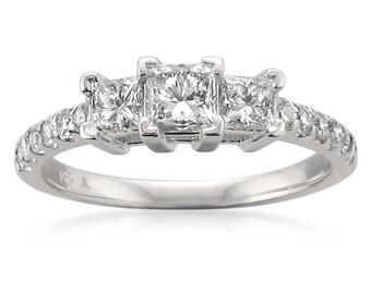14k White Gold Three-Stone Princess-cut & Round Diamond Engagement Ring (1 cttw, H-I, SI2-I1)