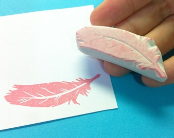 Feather Stamp, Feather hand carved stamp, Feather rubber stamp, Feather handcarved stamp