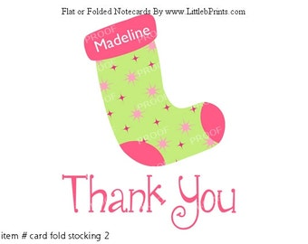 Pink Green Christmas Stocking Girls Note Cards Set of 10 personalized flat or folded cards