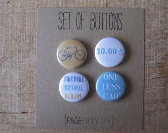 Bike Love Buttons. I love my bike buttons. Set of Buttons. Bicycle Pins. Set of 4 pinback buttons. Bookbag buttons.