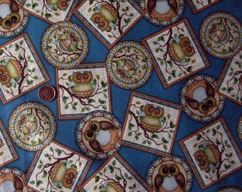 "OWL print Fabric  ( Stamp - Blue or Orange  ) - Fat Quarter 18"" x 21.5"""