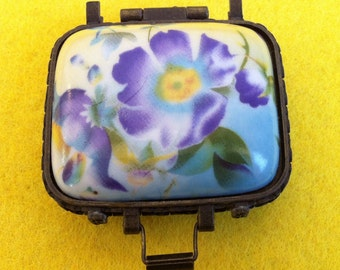 Vintage porcelain blue yellow lilac flowers pill box // jewelry box