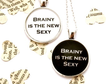 Brainy Is The New Sexy, Sherlock Quote Necklace - Sherlock Inspired Necklace, Pendant Necklace, Sherlock Jewellery, Sherlock Fandom Necklace