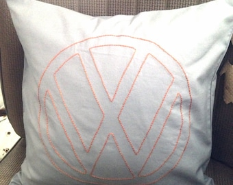 "vw Emblem Embroidered Pillow, grey,orange,vw,Volkswagen,cushion,emblem,14"" X 14"", vw bus, embroidery, kombi, vw bug, vw beetle,vw campervan"