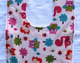 Girly Fox, Owl, Squirrel Bib