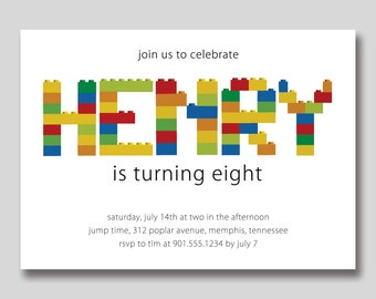 Building Blocks Birthday Invitation - Printable