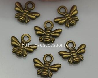 50pcs 10X11mm Antique Brass Honey Bee Charms Pendant