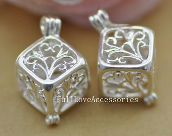 2pcs 13x13x13mm Silver Plated Lovely Filigree Wish Box Magic Box Charm Pendant , Wishing Box Charms Connector