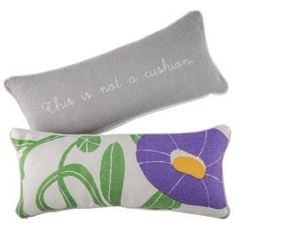 """Marimekko Small Lumbar Pillow - Pienet Kivet fabric, 36X17 cm (14.2""""X6.7"""") - Rene Magritte inspired - """"This is not a cushion"""" - Home Decor"""
