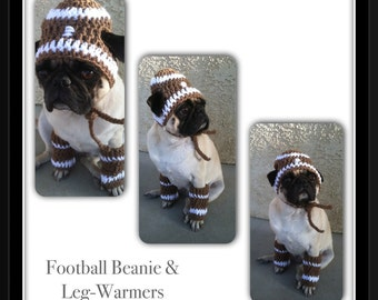 Pugs-Dog Beanie-Hats for Dogs-Football-Football Beanie-Pug Clothing-Legwarmers for Dogs-funny dog hats