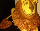 Vintage 1970s Lion Stuffed Animal - Yellow and Brown Made of Canvas and Yarn