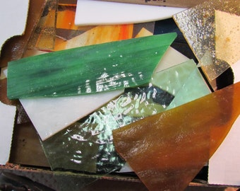 3 Lbs Art Glass Scrap from Stained Glass Studio all colors mfg sizes Mosaic or small suncatchers