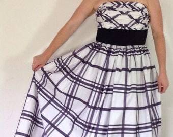 1950s style dress checkered strapless monochrome tartan evening gown uk14 16 ballgown VLV