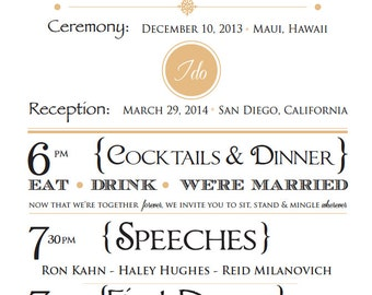 Customizable Wedding Itinerary - Printable Digital File