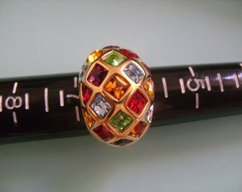 18K GE Gold Electroplated Rainbow Colors Red Green Amber Orange Purple Blue Aqua Triangle&Princess Cuts CZ Cubic Zirconia Dome Cocktail Ring