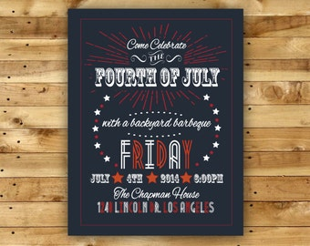 Fourth of july invitation Fourth of july printable invitation fourth of july invite 4th of july invitation vintage 4th of july printable art