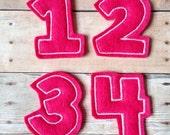 UNCUT Funky Number applique embellishments feltie hair bow center(4)