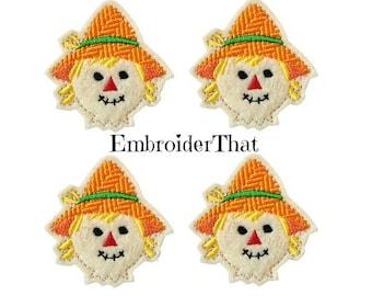 UNCUT EXCLUSIVE Happy Scarecrow felt applique embellishment feltie fall hair bow center (4)