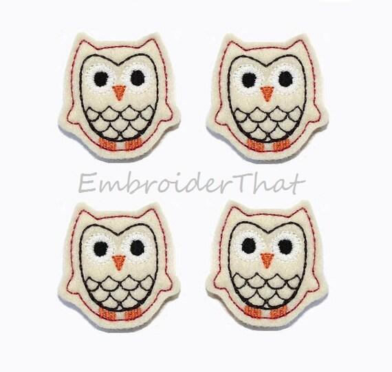 UNCUT Cream Felt Owl applique embellishments (4)