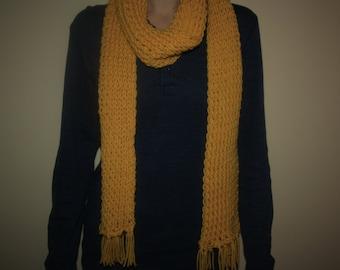 Hand knit mustard yellow knit scarf