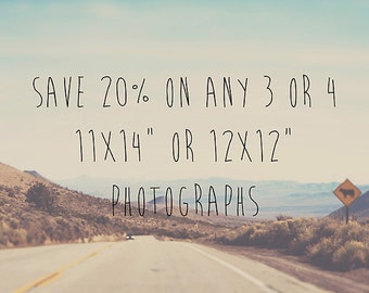 make any four photographs 11x14 or 12x12 photograph 11x14 photograph 14x11 photograph discounted print set fine art photography