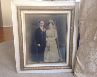 Gorgeous antique shabby chic cottage wedding portrait in original antique wood frame