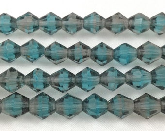 12 Vintage Aqua Teal Givre Crystal German Beads Faceted Glass