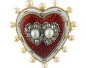 Victorian Sentimental Pearl & Enamel Heart Brooch