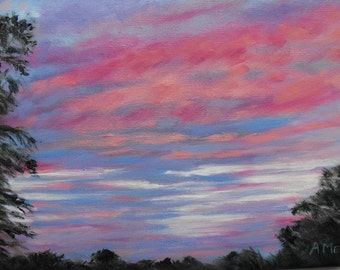 Original Sunrise landscape painting, oil on stretched canvas, 12 X 12, Dawn