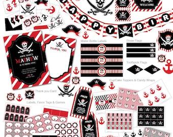 Pirate Invitation, Pirate Birthday Party, Pirate invite, Pirate Party Set, Pirate Centerpieces, DIY, Pirate Decoration, Pirate decor (P1)