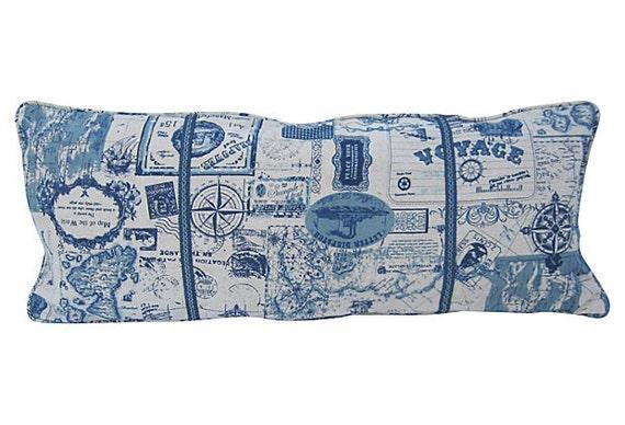 sale blue vintage travel theme custom body pillow. Black Bedroom Furniture Sets. Home Design Ideas