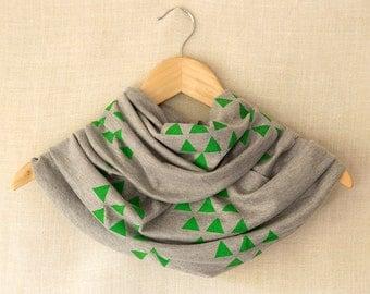 Green Triangle Scarf, Gray Infinity Scarf, Geometric, Tribal, Hand Printed Circle Scarf, Modern Cowl, Screen Printed