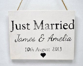 Shabby Chic Sign - Personalised Just Married Sign