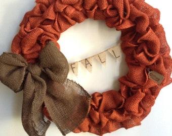 Fall Burlap Wreath, Fall Wreath, Autumn Wreath, Orange Burlap Wreath, Bubble Wreath, Thanksgiving Wreath