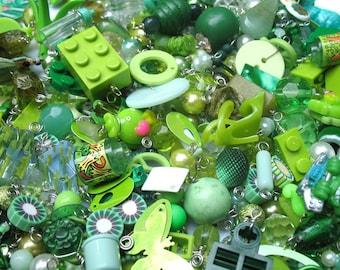 Charm Grab Bag - Green Trinkets for DIY Charm Bracelets - Super Fun Decoden Stuff -  25 Green Charms Mix
