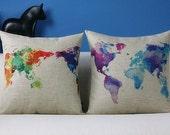 Colorful World Map Pillow Case, Cotton Linen Cushion Cover colour, Eco-friendly 18x18inch