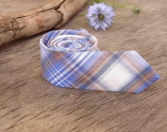 Blue Light Brown plaid Tie  Men's skinny tie  Wedding Ties  Necktie for Men FREE GIFT