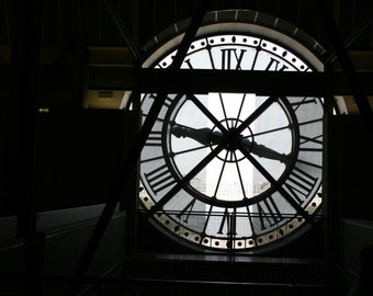 "Paris Photography, Musee D'Orsey Clock, France, Silhouette, Street Photography, 8"" x 10"""