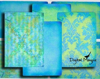 Digital collage sheet - blue green damask vintage paper background cards for instant download
