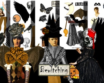 5 Halloween paper doll collage sheets digital printable jpeg and png files for altered art journaling scrapbooking