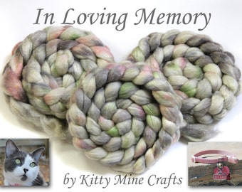 In Loving Memory Stellar Roving - 60/25/15 Merino/ Mulberry Silk /Stellina FIber 4.1oz/ 116g - Spinning, Felting - Glitter - Phat Fiber