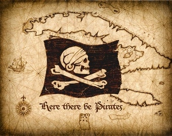 Here There Be Pirates Map Art - Jolly Rogers - Pirate Flag - Pirate Map - Treasure Map - Old Maps and Prints - Pirate Prints - Pirates - Map