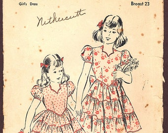 1940s Vintage Advance Pattern 2784, Size 4, Child's Dress with Sweetheart Neckline and Tiered Skirt