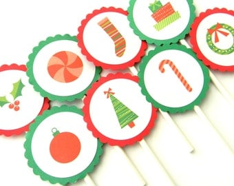 12 Christmas Cupcake Toppers, Christmas Party, Tree Toppers, Christmas Theme, December Party, Christmas Decor, Party Decor, Holiday Toppers
