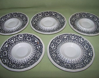 Vintage Kensington Ironstone Dundee 1802 Black / White Saucers - Set Of 5
