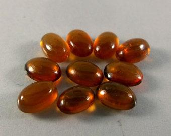 7x9 MM Natural AAA Grade Top Reddish Orange Hessonite Garnet Oval Shape Cabochons 10 Piece Lot
