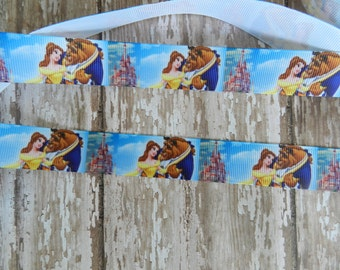 3 Yards of 7/8  inch Beauty and The Beast Grosgrain Ribbon